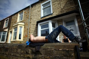 Burnley vote BNP: Youths enjoy the sunshine in the Padiham area of Burnley