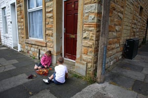 Burnley vote BNP: Children play outside their home in the Padiham area of Burnley