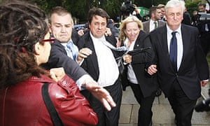 Bodyguard of BNP leader Nick Griffin and MEP Andrew Brons clashes with Anna Heath at Westminster