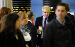 Tube strike: Mayor of London Boris Johnson waits for a train