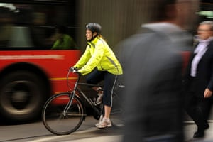 Tube strike: A commuter cycles in London as an underground train strike grips the city