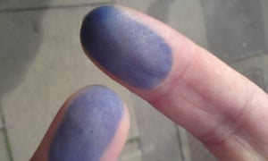 David and Ebrahim's fingers after voting in the Iranian elections
