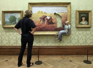 Banksy at Bristol Museum: A woman looks at surprise exhibit by Banksy in Bristol