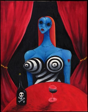 Tim Burton exhibit Moma: Tim Burton Blue Girl with Wine 1997