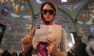 Iranian woman after voting in Tehran