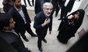 Mir Hossein Mousavi with his wife Zahra Rahnavard