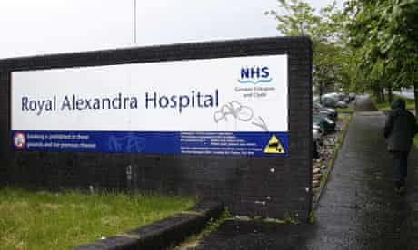 Royal Alexandra hospital in Paisley, Scotland