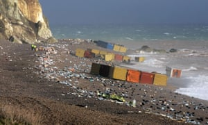 Extreme Weather: Debris litters teh area around the ship
