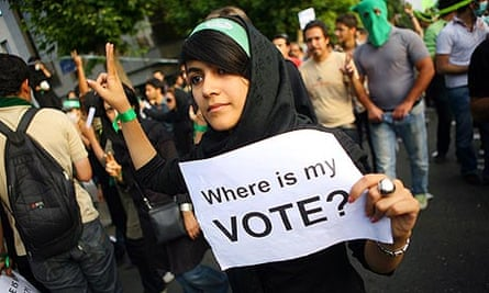 A supporter of defeated Iranian presidential candidate Mir Hossein Mousavi in Tehran