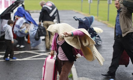 Romanian people arrive at a Belfast city leisure centre, Northern Ireland