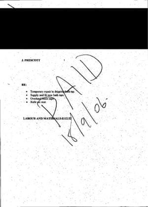 MPs' expenses receipts: Receipt from John Prescott, former deputy prime minister