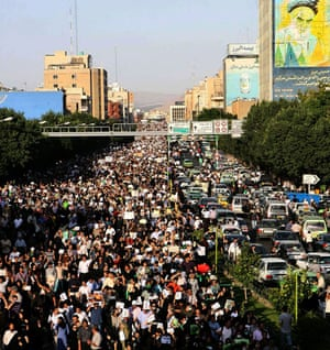 Iran demonstrations: Thousands of Iranians take part in a rally supporting Mir Hossein Mousavi