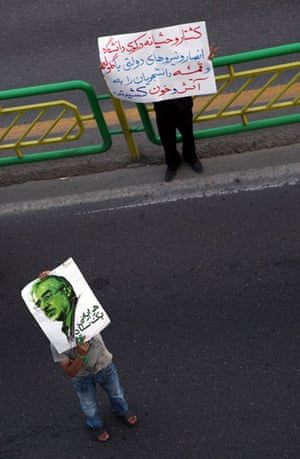 Iran demonstrations: A picture posted on TwitPic shows an supporters of Mir Hossein Mousavi