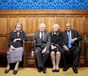 A celebration of old age: Baroness Trumpington, Lord Bramall, Baroness Butler-Sloss and Lord Paul.
