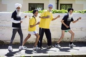 A celebration of old age: Fauja Singh, 98, Armuc Singh, 79, Karnail Singh, 80, and Ajit Singh 79