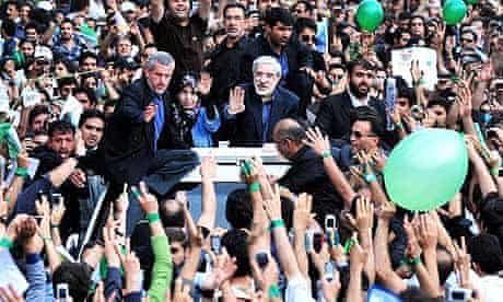 Mir Hossein Mousavi takes part in protests against Iranian presidential election results in Tehran