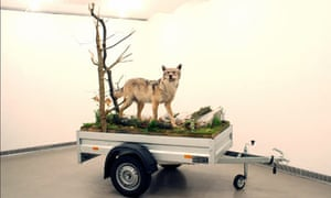 Mark Dion Mobile Wilderness Unit -Wolf 2006 on display at the Radical Nature exhibition at Barbican