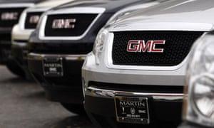 GMC trucks at a General Motors dealership in Los Angeles
