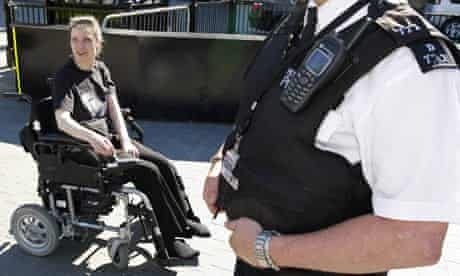 Debbie Purdy manoeuvres her wheelchair outside the House of Lords in central London