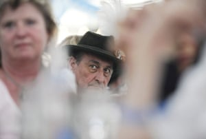 24 hours in pictures: Visitors in traditional bavarian clothes in a beer festival tent