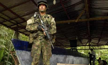 Colombian marine with narco-sub