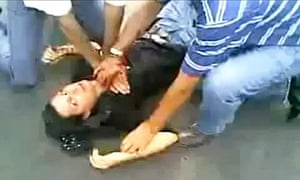 Screengrab from a video on YouTube showing a wounded girl identified as Neda, in Iran.