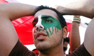 A demonstrator protests against the Iranian election in Washington