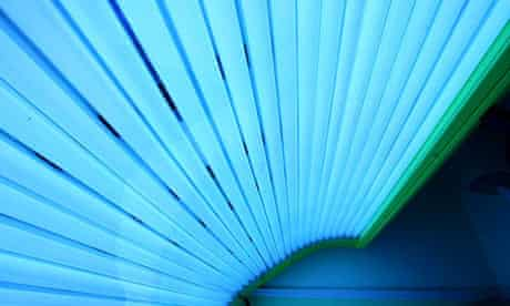A sunbed in a tanning salon in Orrell Park, Liverpool