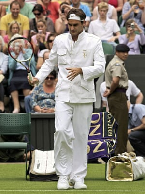 Style at Wimbledon: Roger Federer of Switzerland arrives for his first round match