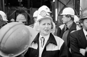 Margaret Thatcher: 1980: Prime Minister Margaret Thatcher at Selby coalfield
