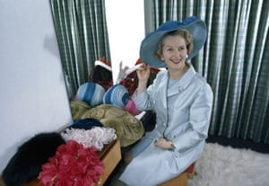 Margaret Thatcher: 1971: Minister of Education Margaret Thatcher tries on different hats