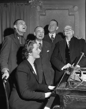 Margaret Thatcher: 1948: Margaret Roberts plays the piano in Dartford, Kent