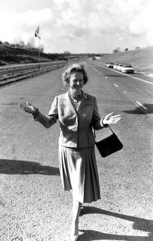 Margaret Thatcher: 1986: Margaret Thatcher at the opening of the M25 motorway