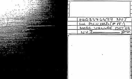 Copy of a page of the police officer's notebook referencing Marc Vallée
