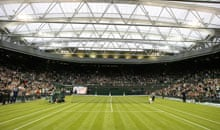 General view of Wimbledon's Centre Court with roof