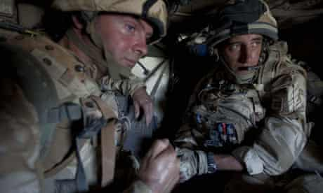 Soldiers from the Black Watch on patrol in a Viking APC in Helmand Province, Afghanistan