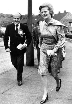 Margaret Thatcher: 1976: Margaret Thatcher in Rotherham with candidate Douglas Hinckley