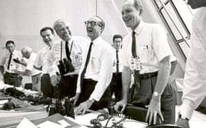 Apollo 11: Apollo 11 mission officials relax in the Launch Control Center