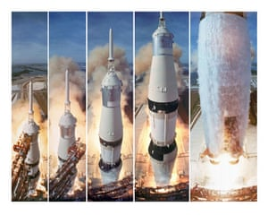 Apollo 11 to the Moon: Composite 5 frame shot of the gantry retracting while the