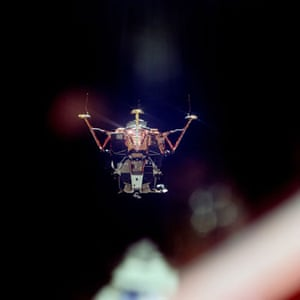 """Apollo 11 to the Moon: Lunar module viewed from CM """"Columbia"""" after undocking"""