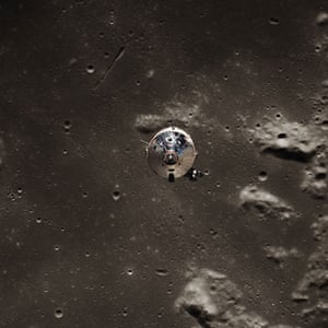 Apollo 11 to the Moon: The command module Columbia Above the Moon