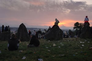 First day at Glastonbury: Sunrise at the stone circle, the Glastonbury Festival