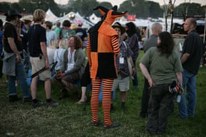 First day at Glastonbury: jester fancy dress at Glastonbury