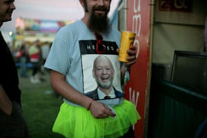 First day at Glastonbury: man in Michael Eavis t-shirt at Glastonbury