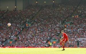 Barclays Sport Photos: Steven Gerrard floats a free kick towards the Stoke penalty area