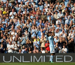 Barclays Sport Photos: Robinho celebrates in front of the Manchester City faithful