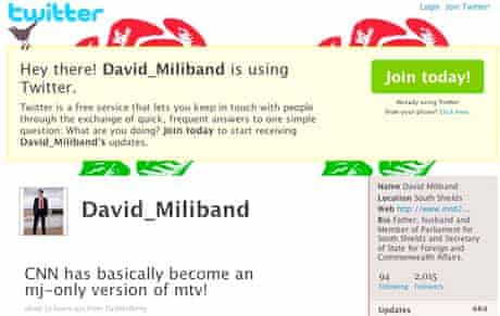 Fake Twitter account attributed to Foreign Secretary David Miliband