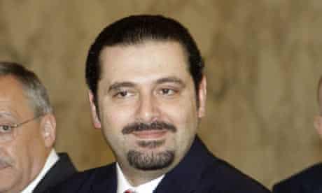 Sa'ad al-Hariri leaves a meeting with the Lebanese president, Michel Suleiman