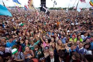 Glastonbury crowds: Glastonbury crowds crowd at the Pyramid