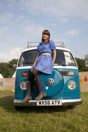Laura Barton's camper van: Laura Barton Backstage At Glastonbury Festival where She Intervied 30 Bands